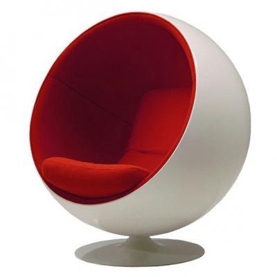 红色款玻璃钢太空球椅 Music ball chair球音乐球椅  休闲创意旋转球椅