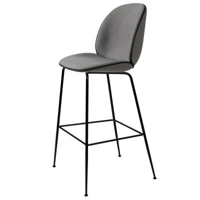 布艺黑色脚吧椅 时尚创意高吧椅 Gubi丹麦设计师酒吧凳304不锈钢电镀 高品质
