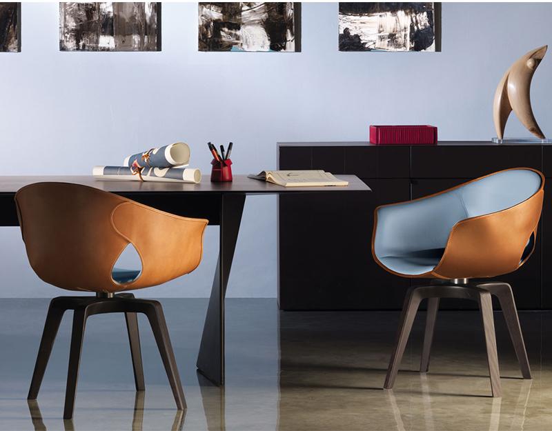设计师穿孔椅头盔椅餐椅电脑椅 休闲椅 双孔椅皮革真皮 北欧设计师意大利
