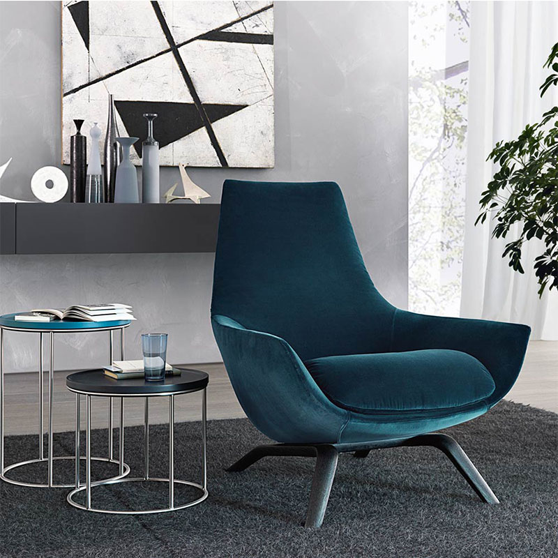 北欧布艺休闲椅 设计师创意椅酒店地产样板房接待绒布高端品质 高质量质感强