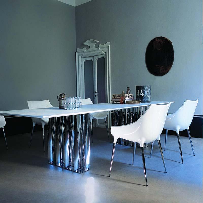 白色款 玻璃钢餐椅passion dining chair 北欧设计风格不锈钢休闲椅