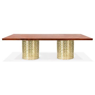 不锈钢金色木质茶几NIXON DINING TABLE, ROSEWOOD 尼克松餐桌,紫檀
