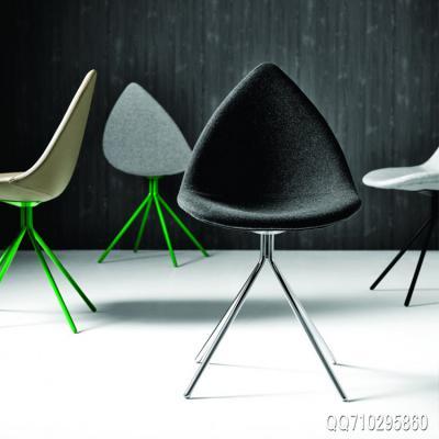 布质玻璃钢漆面版 餐椅北欧风情电脑设计师椅树叶椅尖嘴尖角椅 五金家具电镀