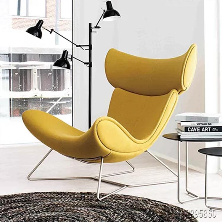 黄色布质方脚躺椅易默拉模特椅 北欧沙发椅 电视电影广告道具出租 宜家定制