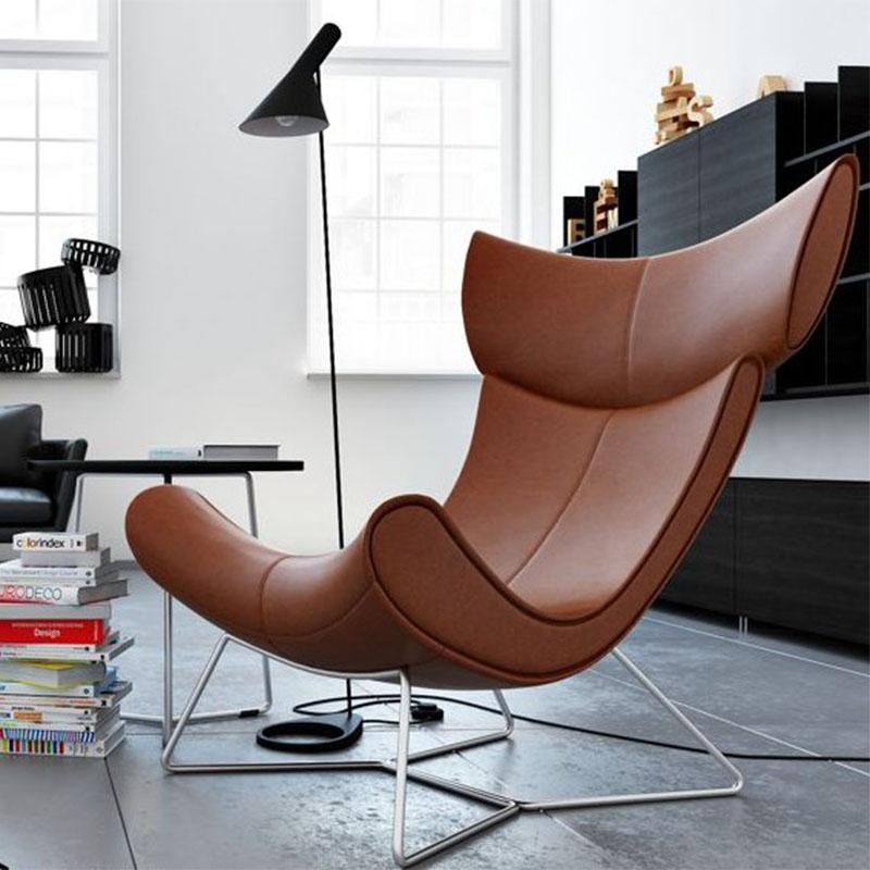 黄色皮质方脚 躺椅易默拉模特椅Henrik Pedersen设计 地产样品房 家用商用家具设计