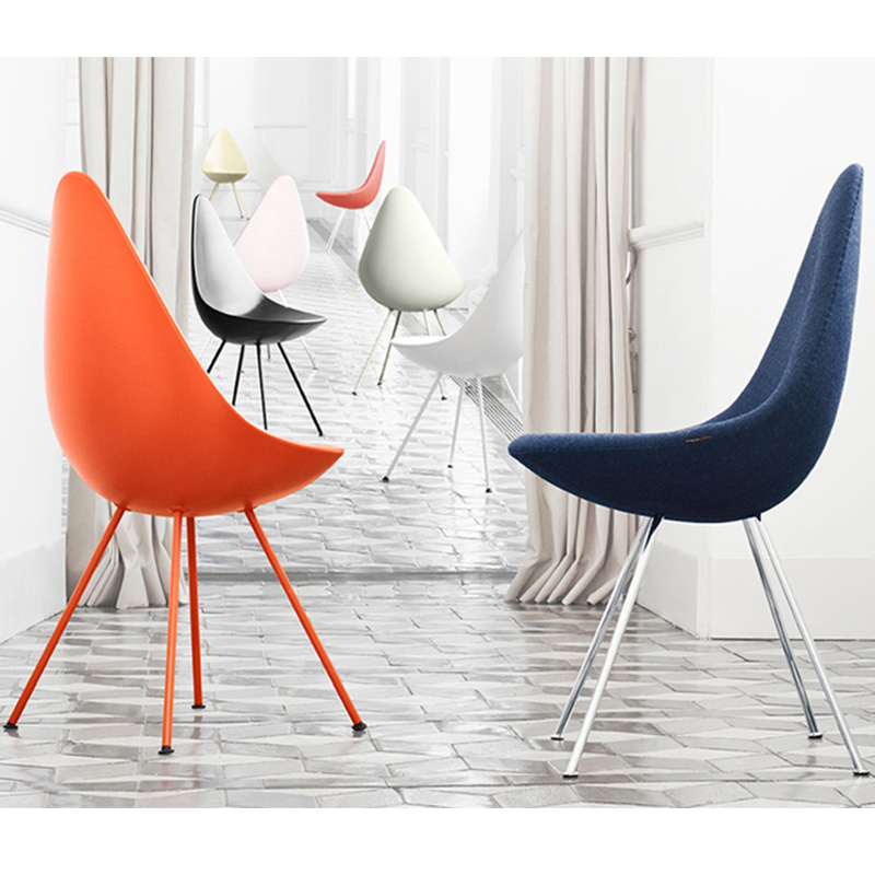 布质布艺水滴椅餐椅DROP CHAIR座板内架玻璃钢电脑椅 粉色经典女性美容家用椅