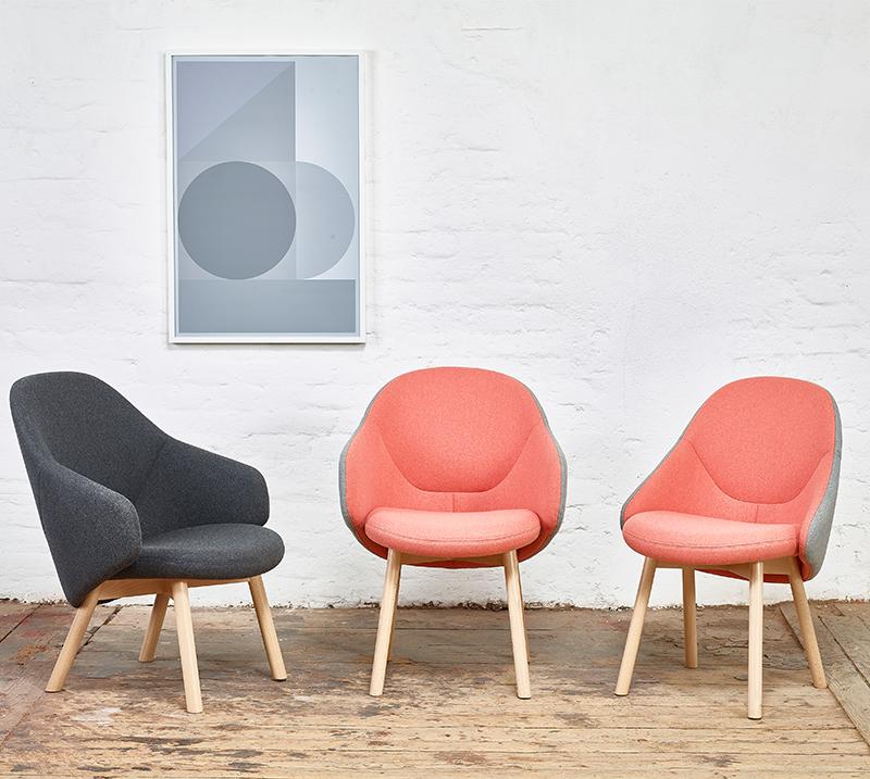 新款布艺Alba chair北欧现代时尚个性单人实木休闲椅酒吧餐椅
