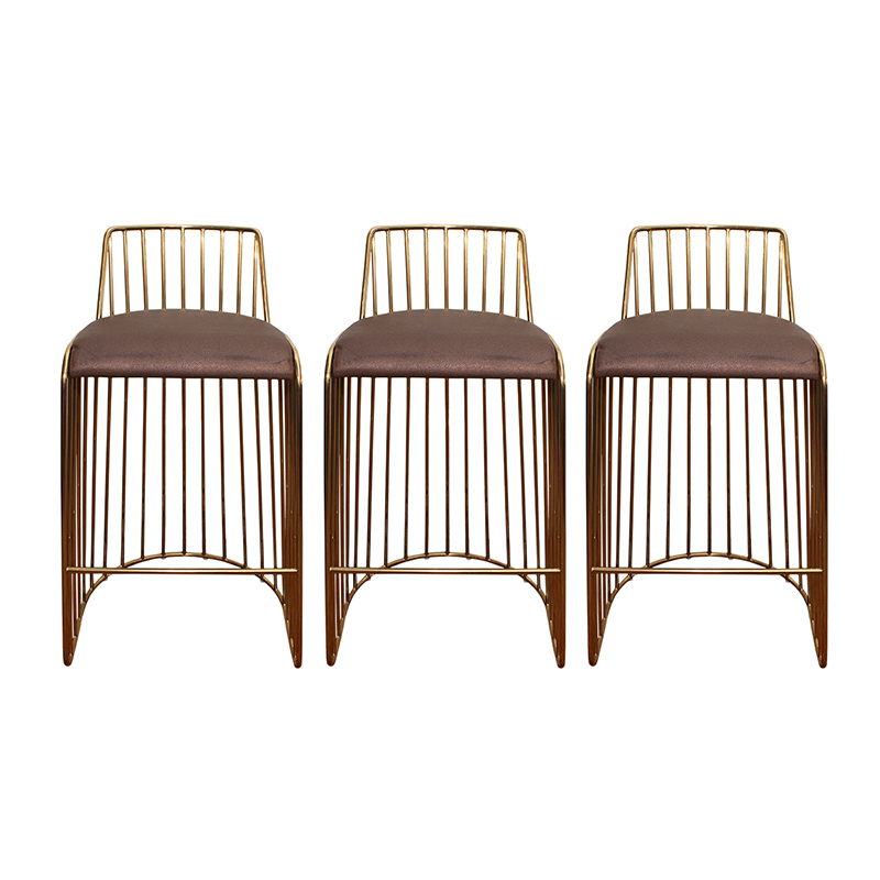 香槟金款复古吧椅 北欧经典不锈钢现代简约吧凳 面料规格颜色可定制 高端家具