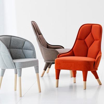 北欧实木休闲扶手椅Emma easy chair 酒店会所样板房洽谈椅家具定制