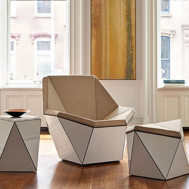 玻璃钢钻石休闲布艺椅菱形靠背样板房椅商务躺椅家居家具定制