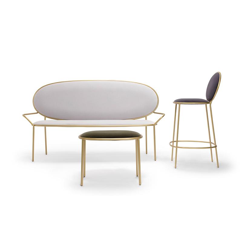 金色双人沙发椅Stay Bench 130cm酒店会所别墅家具定制  西餐厅珠宝店