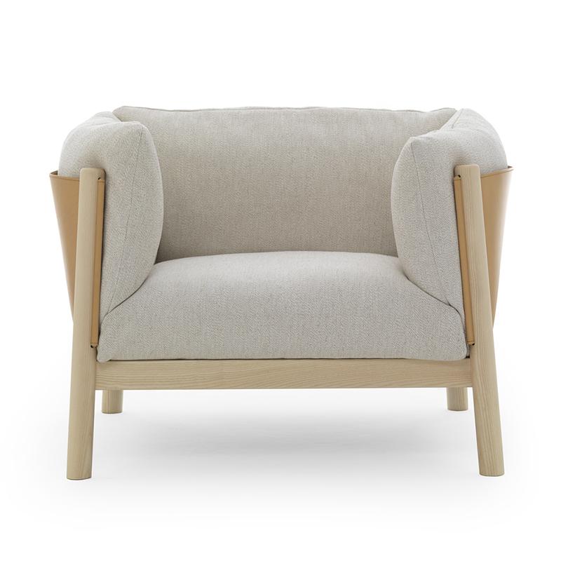 北欧实木休闲椅Yak Armchair简约意大利经典创意时尚布艺扶手餐椅