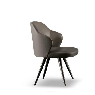 实木布艺皮质餐椅Minotti Leslie chair设计师北欧简约创意实木餐椅电脑椅