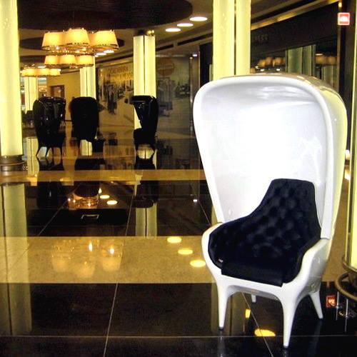 白色款玻璃钢高帽椅hooded armchair创意头巾椅 米亚.海因休闲椅