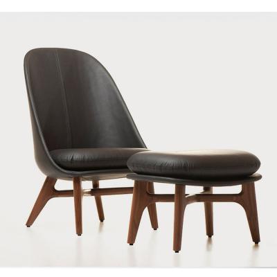 真皮北欧实木休闲椅lounge chair  沙发椅 会所椅 样板房家具