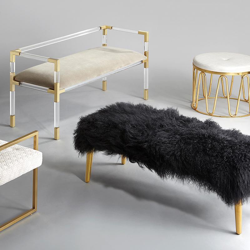 毛绒梳妆凳子Large Mongolian Lamb Bench卧室床尾凳客厅沙发凳