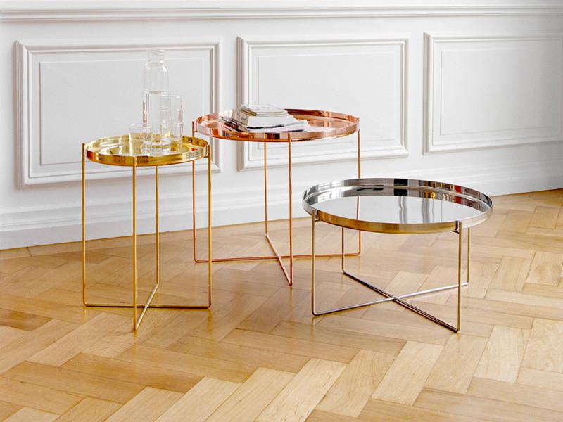 铜色圆形咖啡桌茶边土豪金几家具可定制 不锈钢铁质金色黑色电镀