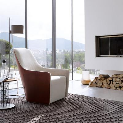 北欧法国设计师 单人椅 福斯特扶手椅沙发经典商务休闲椅 双色布艺西皮