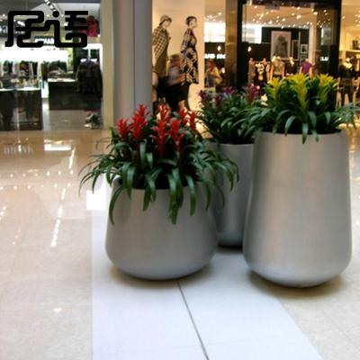 现代时尚白色异形玻璃钢花瓶 别墅高档奢华花瓶 商场酒店门口户外摆件