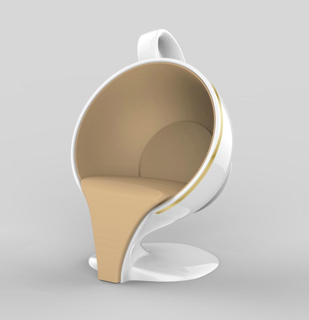 现代简约玻璃钢咖啡杯型休闲椅 咖啡厅餐椅 商务坐椅 商场休息椅