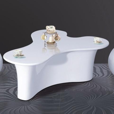 简约时尚玻璃钢白色圆弧三角洽谈桌 户外时尚餐桌 Y字咖啡桌