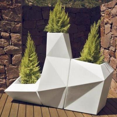 三件一套菱形花盆 多边形花器艺术 花盆装饰花盆玻璃钢花盆 可定制颜色规格