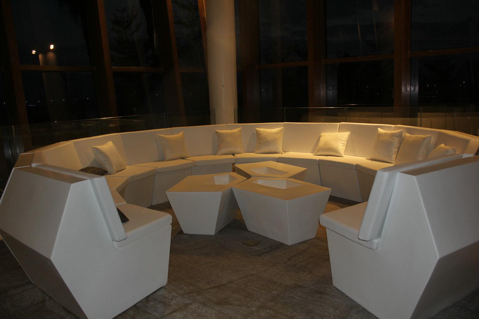 玻璃钢菱形组合多人沙发 户外高端酒店沙发 圆形 国际会议  任意组合 茶几 聚会party