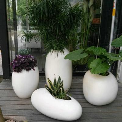 新款玻璃钢白色馒头型花盆 景区 落地花盆 商场客厅花盆