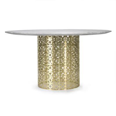 网状脚餐椅茶几Nixon Dining Table 轻奢尼克松餐桌咖啡桌 金色不锈钢餐台 时尚