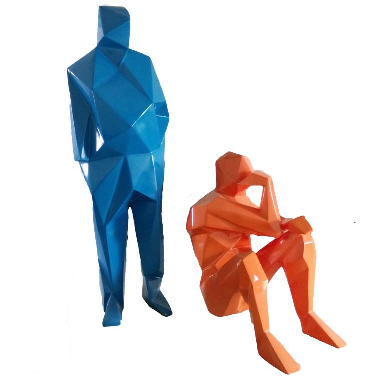 现代创意玻璃钢切面雕塑人物摆件 酒店咖啡馆商场家装饰品工艺品
