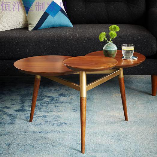 Clover Coffee Table 北欧实木胡桃色三叶草茶几咖啡桌颜色可定制