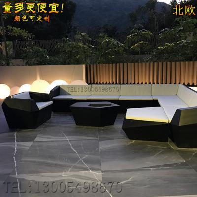 实物香港别墅私人会所咖啡 玻璃钢方形沙发401*331 CM 定做制如图菱形