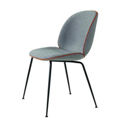 布艺黑脚款餐椅咖啡厅 洽谈室 会所全覆垫单椅 304不锈钢电镀 高品质 质量第一