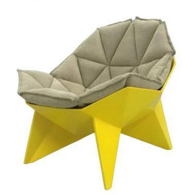 黄色款玻璃钢钻石lounge chair不规则菱形躺椅单人接待洽谈椅