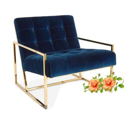 中式 北欧时尚香槟金不锈钢金属单人沙发椅靠背椅卧室书椅客厅休闲单椅