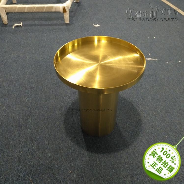 [有货] 圆柱形茶几香槟金玫瑰金 铜色 不锈钢电镀高端拉丝镜面亮光家具