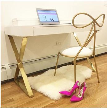 金/蓝/粉色梳妆椅子 北欧网红化妆椅蝴蝶结软椅餐 个性艺术餐椅
