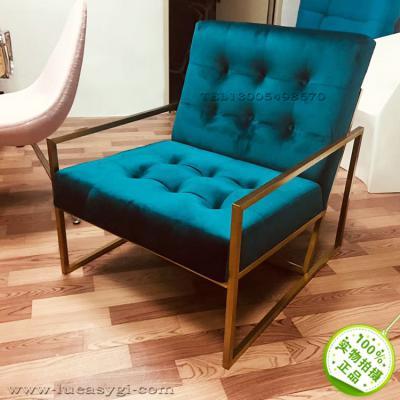 实拍北欧金色不锈钢架单人沙发椅 布艺电镀脚酒店会所高级休闲椅