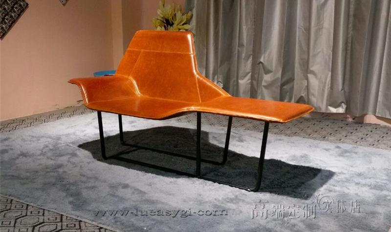 建设家具设计师 意大利米兰 酒店售楼处样板房躺椅 五金铁不锈钢贵妃椅