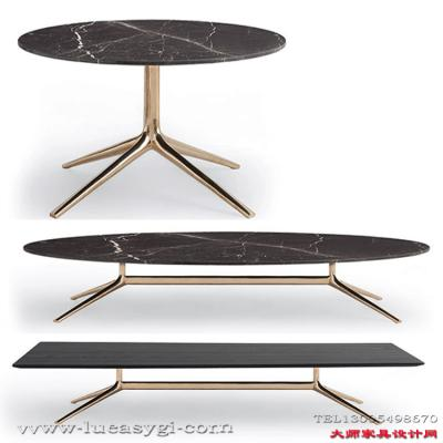高端家具定制 北欧设计师 大户型 方形圆形大理石茶几 电镀不锈钢脚金色