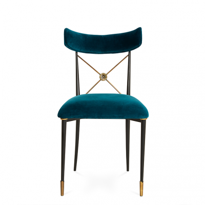 个性设计家具设计网 五金家具 高端轻奢金属布艺靠背餐椅软装设计样板房洽谈椅