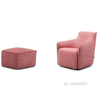 意大利扶手椅  单人位沙发脚踏 布艺家具定制