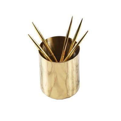 北欧丹麦设计 黄铜金色笔筒美式田园花瓶样板房摆件化妆刷筒 家具饰物