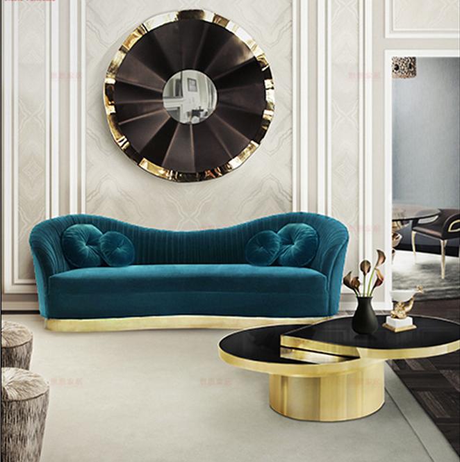 三人座  四人座 不锈钢电镀五金包脚 多人沙发北欧设计师 高端定制家具