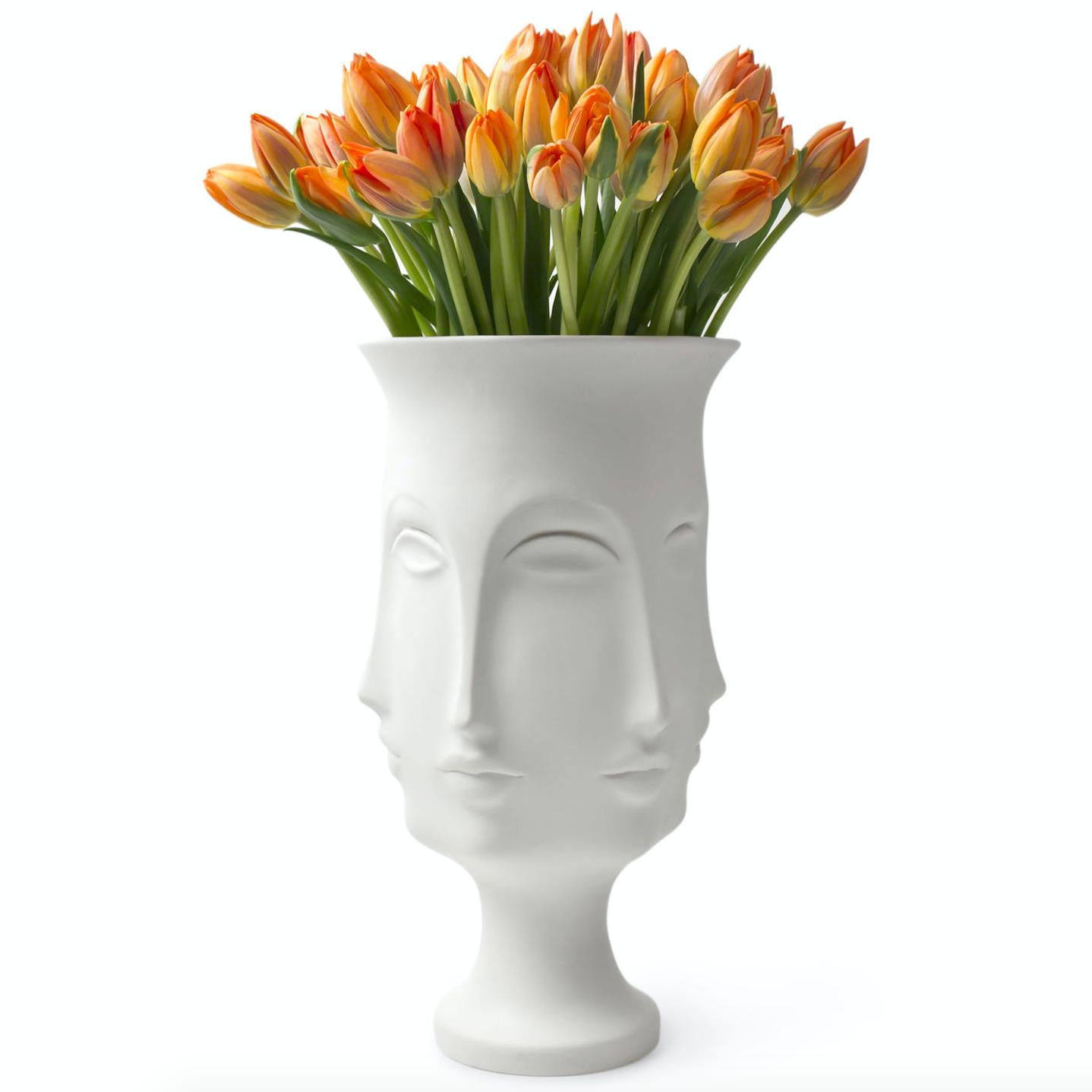花器花瓶 高瓶 人脸 出家人和尚 僧人 佛教文化 艺术品 定制花瓶