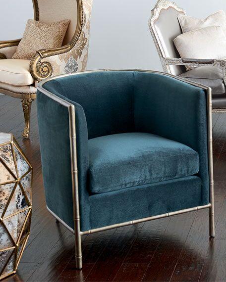 北欧欧美家具高端个性定制Luella Blue Velvet Chair  五金家具