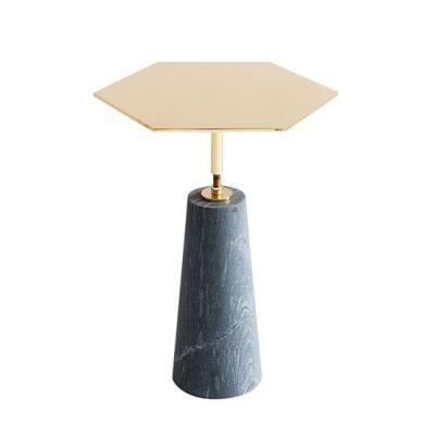 大理石 镀金不锈钢边几茶几多边角 六角茶几五金电镀镜面