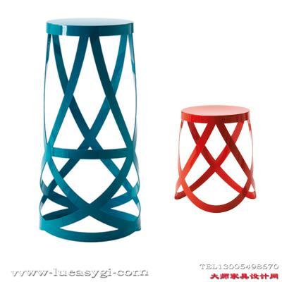 创意设计师家具  五金彩色电镀烤漆丝带吧凳 酒吧前台休闲吧凳