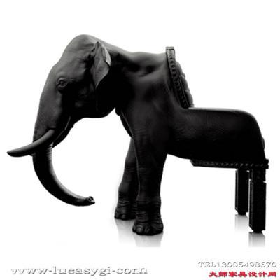 创意设计师家具 玻璃钢大象椅 动物仿皮真皮布艺创意座椅 颜色可定制
