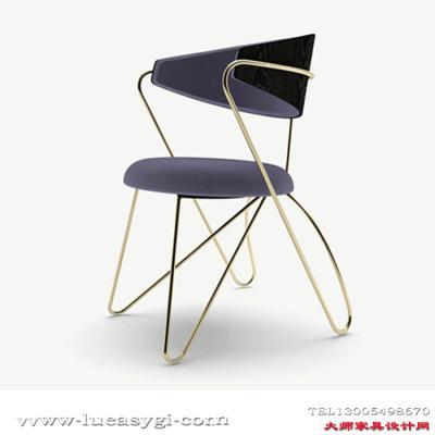 北欧创意设计师家具 304不锈钢电镀金属脚休闲椅 高品质餐椅 美容院会所酒店